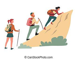 randonnée, escalade, falaise, homme, et, femmes, randonneurs, ou, randonneurs