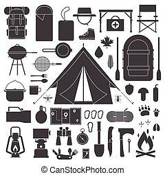 randonnée, et, camping, contour, icône, set.