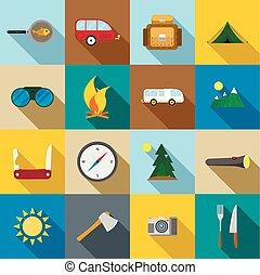 randonnée, et, camping, icônes, ensemble
