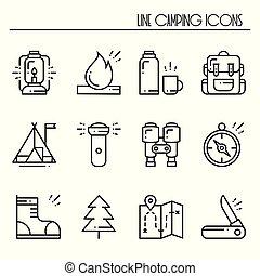 randonnée, et, camping, ligne, icônes, set., extérieur, camp, signe, et, symbole., randonnée, adventure.