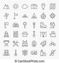 randonnée, et, extérieur, ligne, icônes, ensemble