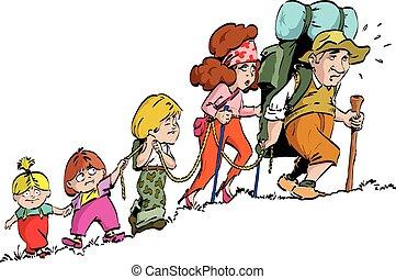 randonnée, -, famille