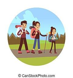 randonnée famille, vecteur, illustration., mère, papa, et, fille