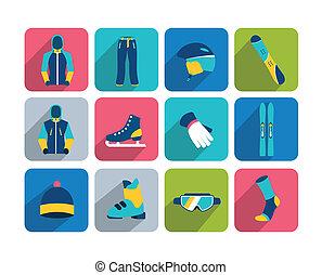 randonnée, hiver, icon., sport