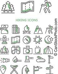 randonnée, icônes, ensemble