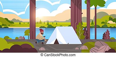 randonnée, levers de soleil, randonneur, paysage, installation, horizontal, fond, concept, campeur, montagnes, rivière, camper tente, entiers, plat, homme, longueur, préparer, nature