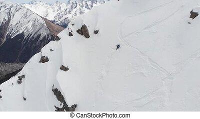 randonnée, main., neigeux, polonais, personne, pente, hiver...