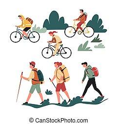randonnée, marche, et, bicyclette voyageant, famille, actif, passe-temps