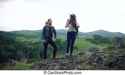 randonnée, nature., voyageurs, jeune couple, sacs dos, touriste