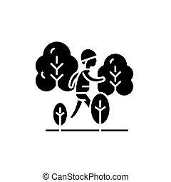 randonnée, noir, icône, vecteur, signe, sur, isolé, arrière-plan., randonnée, concept, symbole, illustration