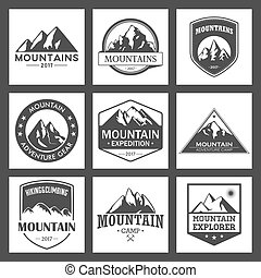 randonnée, ou, logo, tourisme, evénements, escalade, camping...