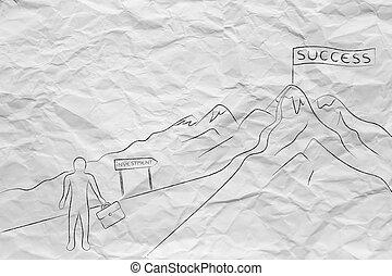 randonnée, reussite, business, sentier, investissement, homme