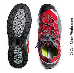 randonnée, semelle, dur, chaussures