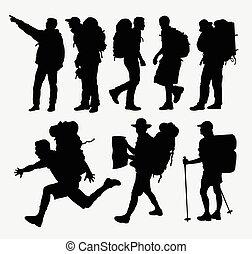 randonnée, silhouettes, gens