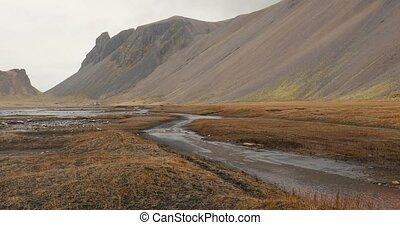 randonnée, vestrahorn, pluvieux, islande, paysage, montagnes