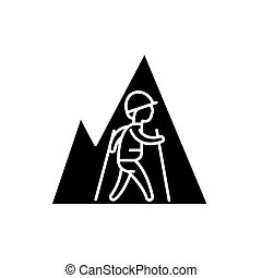 randonnée, voyage, noir, icône, vecteur, signe, sur, isolé, arrière-plan., randonnée, voyage, concept, symbole, illustration