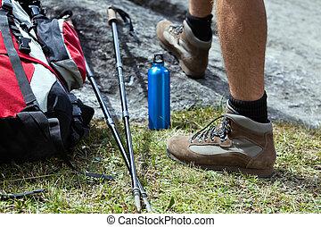 randonneur, équipement, randonnée