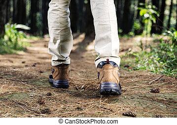 randonneur, homme, à, bottes, marche