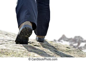 randonneur, montagne, jambes, randonnée, boots.