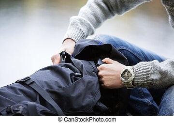 randonneur, sac à dos, mâle, camping, ouverture