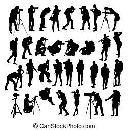 randonneur, silhouettes, photographe