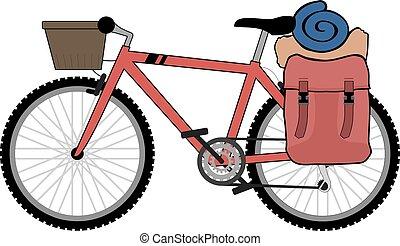 randonneur, vélo, dessiner