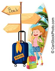 randonneur, voyage, plage