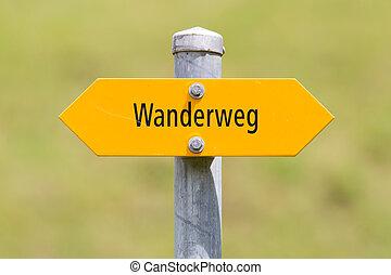 randonneurs, navigation, bergwanderweg, montagnes, signe