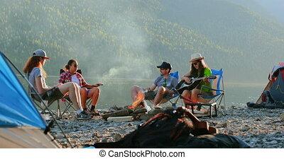 randonneurs, rive, camping, groupe, 4k