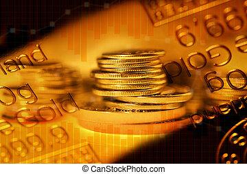 rangées, business, or, graphique, concept., pièces, commercer, metals., précieux, finance