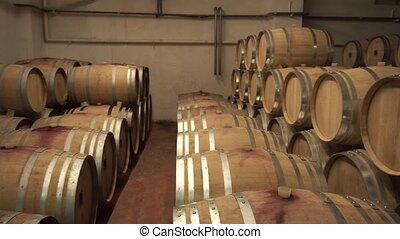 rangées, chêne, cave, baril vin, tenir bon