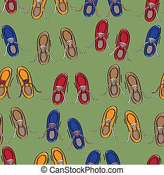rangées, coloré, chaussures occasionnelles
