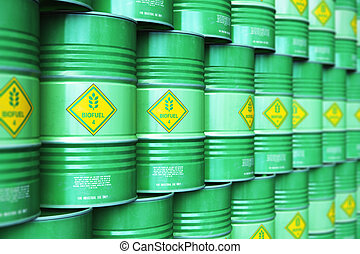 rangées, groupe, biofuel, stockage, vert, tambours, entrepôt, empilé