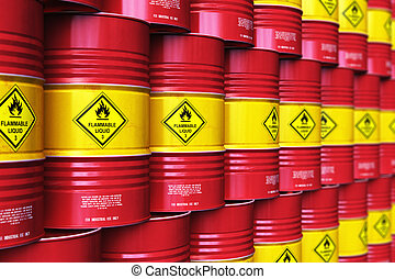 rangées, groupe, stockage, tambours huile, entrepôt, empilé, rouges