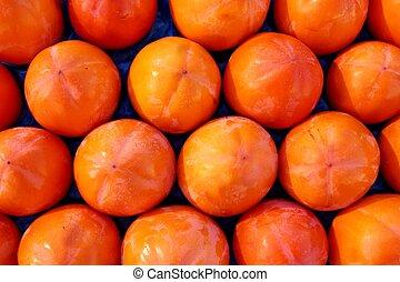 rangées, modèle, persimon, arrangement, fruit, fruits