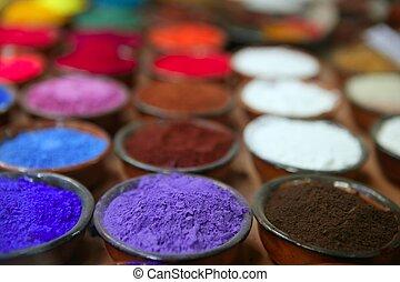 rangées, pigments, coloré, poudre