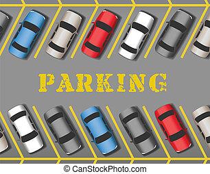 rangées, voitures, parc, lot, stationnement, magasin