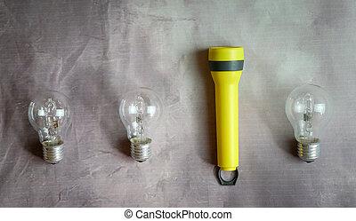 rang, ampoules, torche, trois, lumière