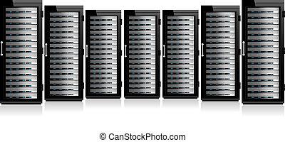 rang, de, réseau, serveurs