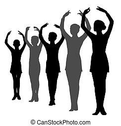 rang, debout, danseurs, ballet, filles, garçon, mains élevées