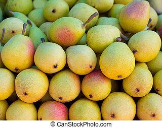 rang, empilé, marché, poires, fruits