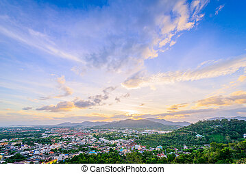 rang, khao, phuket, ciudad, ocaso, provincia, tailandia, ...