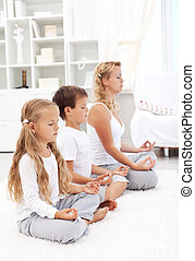 rang, méditer, famille, séance