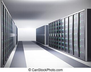 rang, salle, serveur, réseau, serveurs