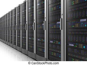 rang, serveurs, datacenter, réseau