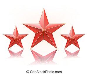 rang, vecteur, étoiles, illustration, rouges