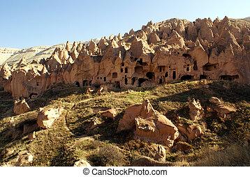 Rocks and canyon in Zelve, Cappadocia, Turkey
