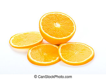 Range of Orange Fruit Background isolated on white
