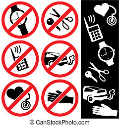 range of prohibition signs. Labeling.