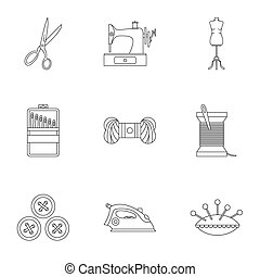 Range of tools for dressmakers icons set